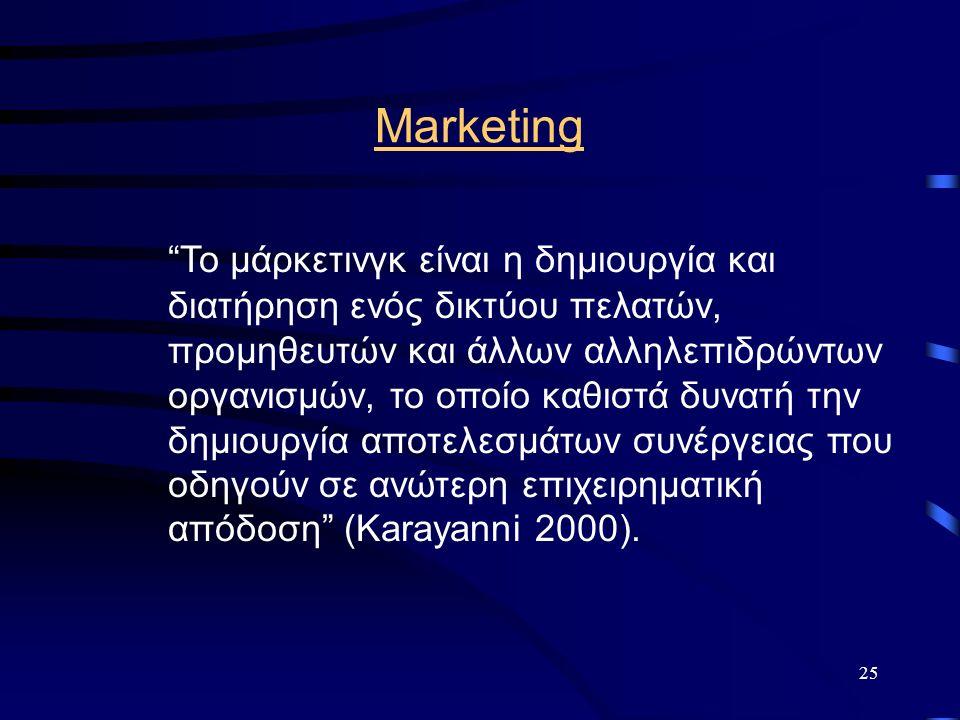 25 Marketing Το μάρκετινγκ είναι η δημιουργία και διατήρηση ενός δικτύου πελατών, προμηθευτών και άλλων αλληλεπιδρώντων οργανισμών, το οποίο καθιστά δυνατή την δημιουργία αποτελεσμάτων συνέργειας που οδηγούν σε ανώτερη επιχειρηματική απόδοση (Karayanni 2000).