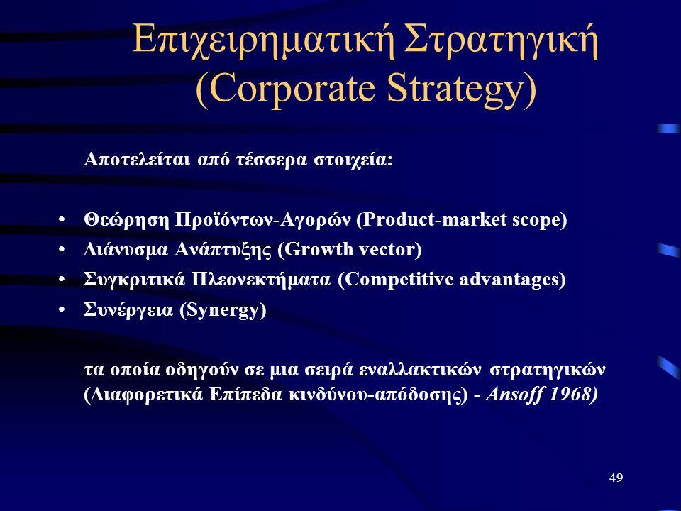 49 Επιχειρηματική Στρατηγική (Corporate Strategy) Αποτελείται από τέσσερα στοιχεία: Θεώρηση Προϊόντων-Αγορών (Product-market scope) Διάνυσμα Ανάπτυξης (Growth vector) Συγκριτικά Πλεονεκτήματα (Competitive advantages) Συνέργεια (Synergy) τα οποία οδηγούν σε μια σειρά εναλλακτικών στρατηγικών (Διαφορετικά Επίπεδα κινδύνου-απόδοσης) - Ansoff 1968)