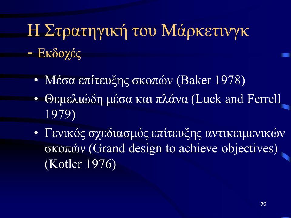 50 Η Στρατηγική του Μάρκετινγκ - Εκδοχές Μέσα επίτευξης σκοπών (Baker 1978) Θεμελιώδη μέσα και πλάνα (Luck and Ferrell 1979) Γενικός σχεδιασμός επίτευξης αντικειμενικών σκοπών (Grand design to achieve objectives) (Kotler 1976)
