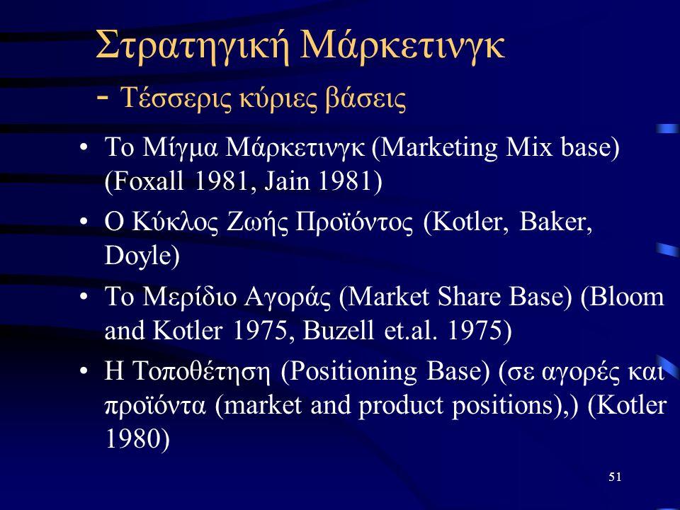 51 Στρατηγική Μάρκετινγκ - Τέσσερις κύριες βάσεις Το Μίγμα Μάρκετινγκ (Marketing Mix base) (Foxall 1981, Jain 1981) O Κύκλος Ζωής Προϊόντος (Kotler, Baker, Doyle) Το Μερίδιο Αγοράς (Market Share Base) (Bloom and Kotler 1975, Buzell et.al.