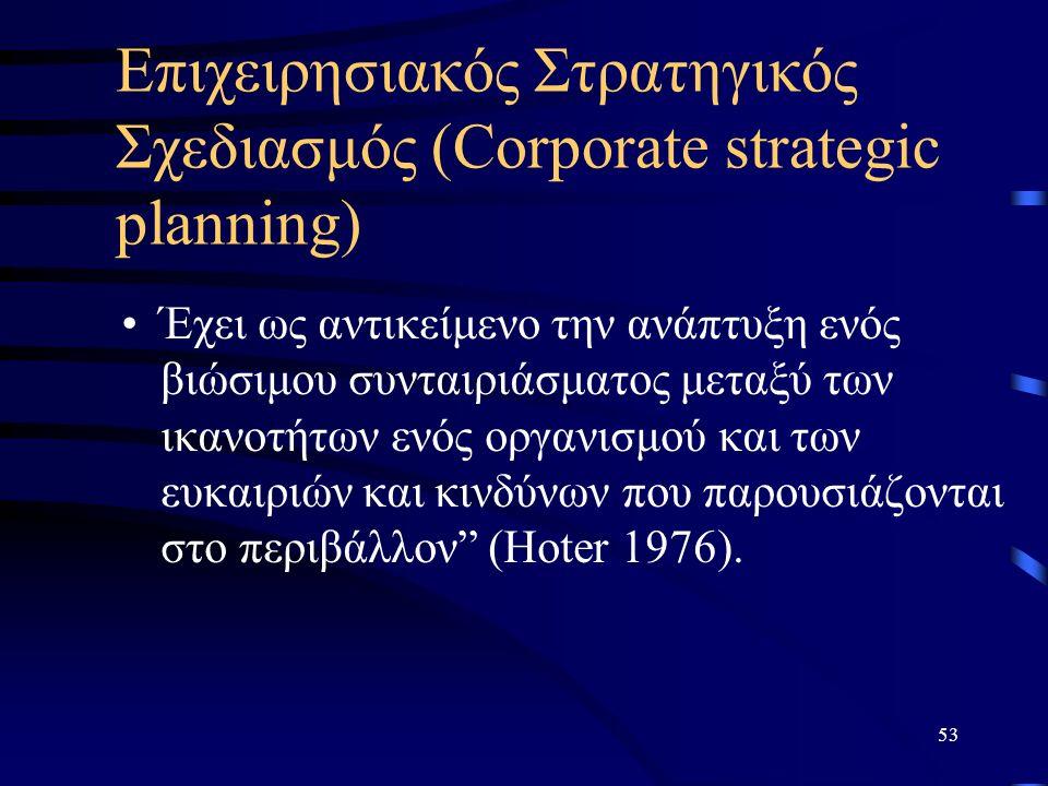 53 Επιχειρησιακός Στρατηγικός Σχεδιασμός (Corporate strategic planning) Έχει ως αντικείμενο την ανάπτυξη ενός βιώσιμου συνταιριάσματος μεταξύ των ικανοτήτων ενός οργανισμού και των ευκαιριών και κινδύνων που παρουσιάζονται στο περιβάλλον (Hoter 1976).