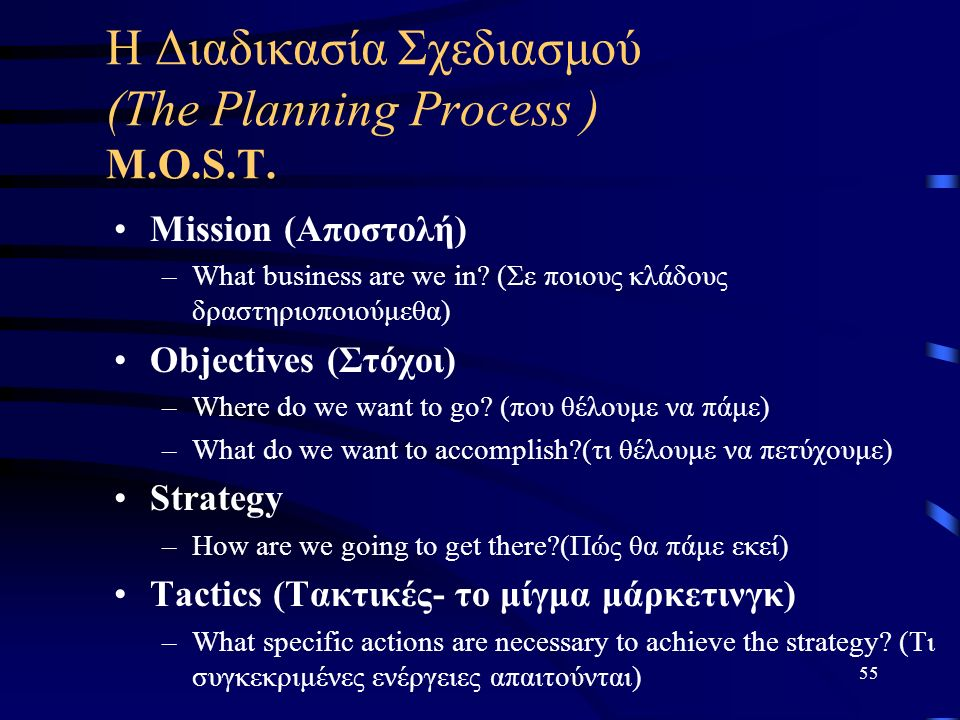 55 Η Διαδικασία Σχεδιασμού (The Planning Process ) M.O.S.T. Mission (Αποστολή) –What business are we in? (Σε ποιους κλάδους δραστηριοποιούμεθα) Object