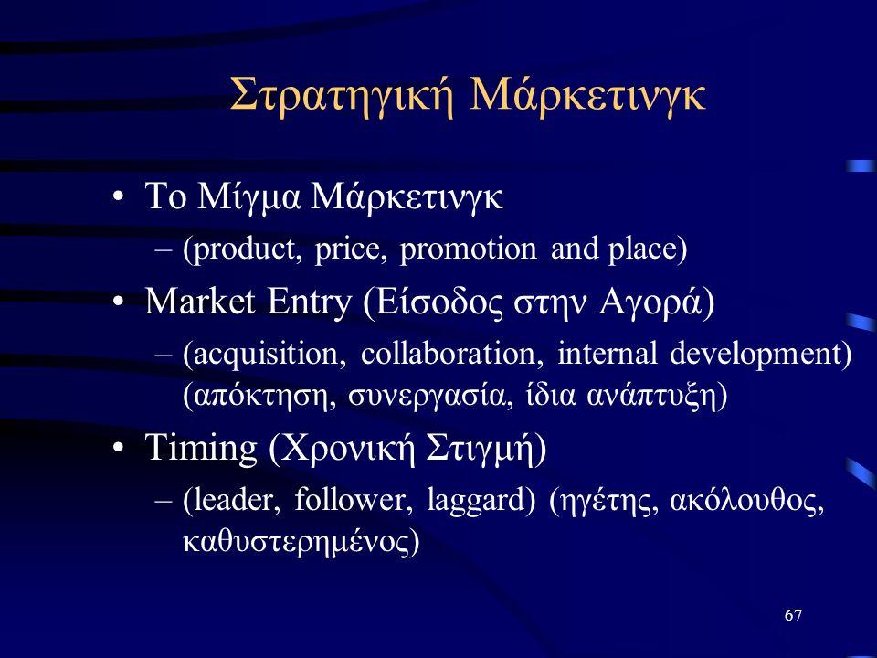 67 Το Μίγμα Μάρκετινγκ –(product, price, promotion and place) Market Entry (Είσοδος στην Αγορά) –(acquisition, collaboration, internal development) (απόκτηση, συνεργασία, ίδια ανάπτυξη) Timing (Χρονική Στιγμή) –(leader, follower, laggard) (ηγέτης, ακόλουθος, καθυστερημένος) Στρατηγική Μάρκετινγκ
