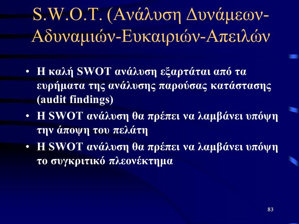 83 S.W.O.T. (Ανάλυση Δυνάμεων- Αδυναμιών-Ευκαιριών-Απειλών Η καλή SWOT ανάλυση εξαρτάται από τα ευρήματα της ανάλυσης παρούσας κατάστασης (audit findi