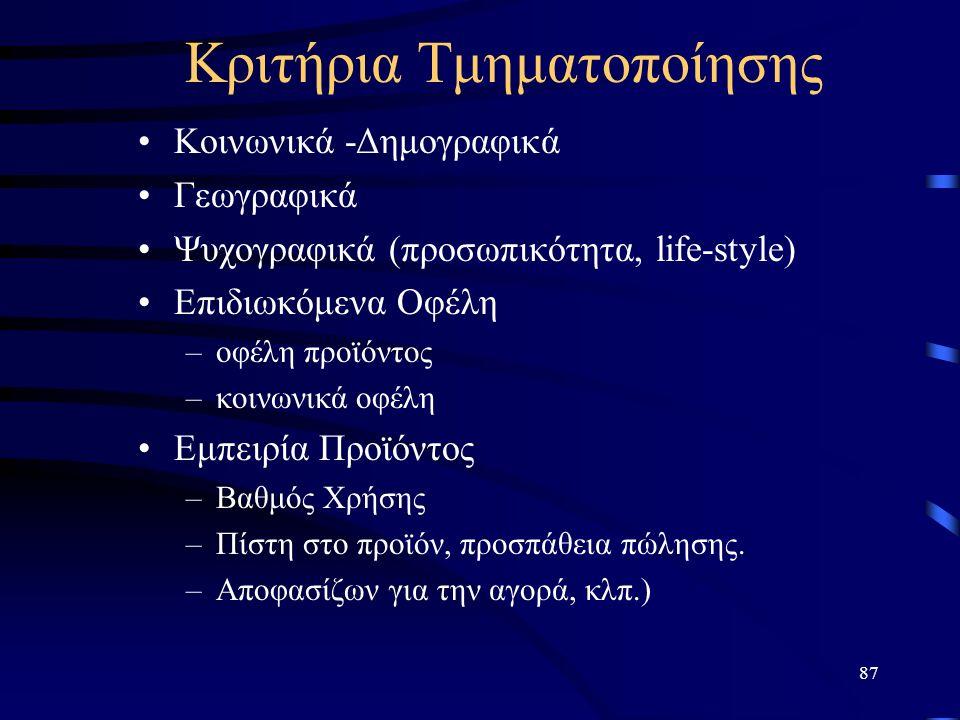 87 Kριτήρια Τμηματοποίησης Κοινωνικά -Δημογραφικά Γεωγραφικά Ψυχογραφικά (προσωπικότητα, life-style) Επιδιωκόμενα Οφέλη –οφέλη προϊόντος –κοινωνικά οφ