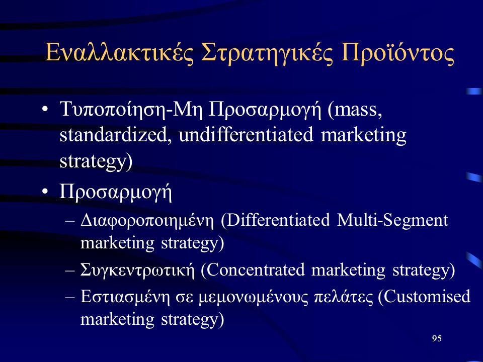 95 Eναλλακτικές Στρατηγικές Προϊόντος Τυποποίηση-Μη Προσαρμογή (mass, standardized, undifferentiated marketing strategy) Προσαρμογή –Διαφοροποιημένη (Differentiated Multi-Segment marketing strategy) –Συγκεντρωτική (Concentrated marketing strategy) –Εστιασμένη σε μεμονωμένους πελάτες (Customised marketing strategy)