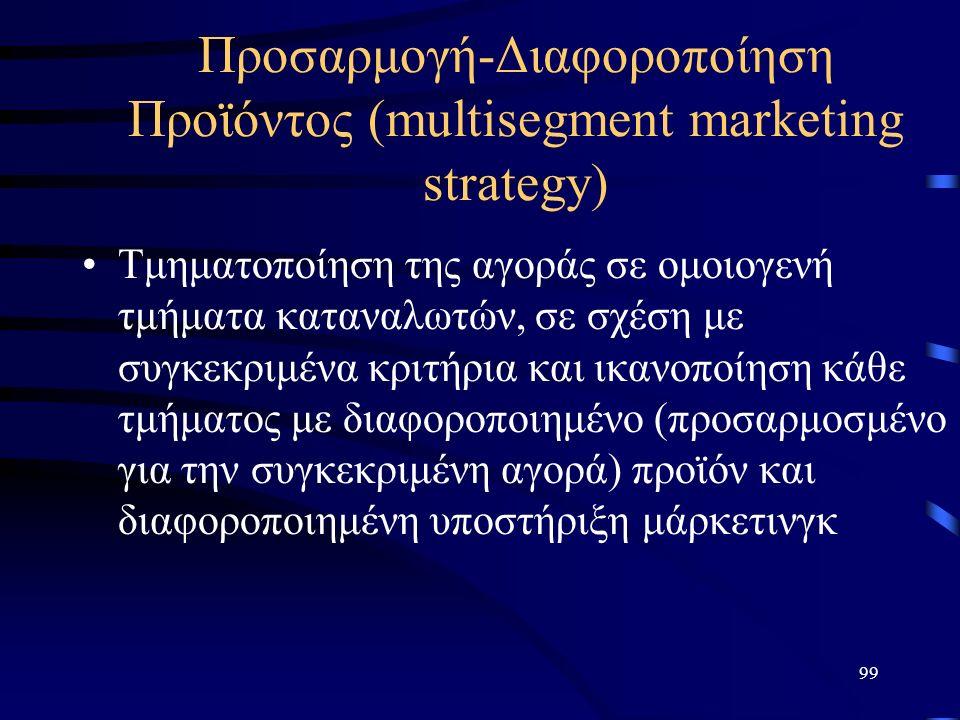 99 Προσαρμογή-Διαφοροποίηση Προϊόντος (multisegment marketing strategy) Τμηματοποίηση της αγοράς σε ομοιογενή τμήματα καταναλωτών, σε σχέση με συγκεκριμένα κριτήρια και ικανοποίηση κάθε τμήματος με διαφοροποιημένο (προσαρμοσμένο για την συγκεκριμένη αγορά) προϊόν και διαφοροποιημένη υποστήριξη μάρκετινγκ
