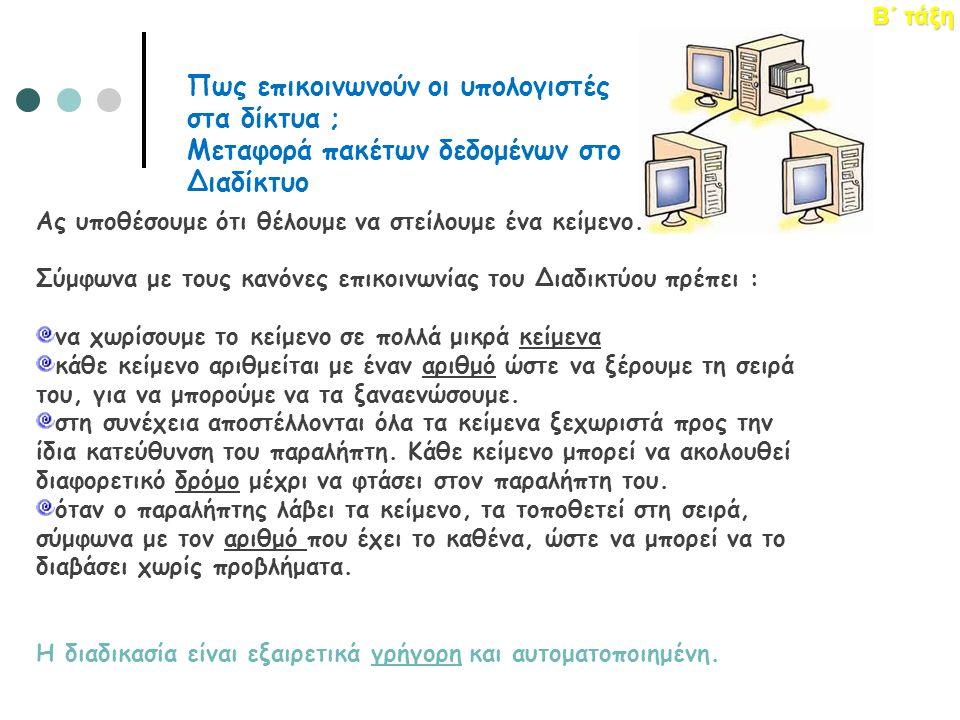 ΕΝΟΤΗΤΑ 1 – Κεφάλαιο 4: Δίκτυα Υπολογιστών Β΄ τάξη Πως επικοινωνούν οι υπολογιστές στα δίκτυα ; Μεταφορά πακέτων δεδομένων στο Διαδίκτυο Ας υποθέσουμε ότι θέλουμε να στείλουμε ένα κείμενο.