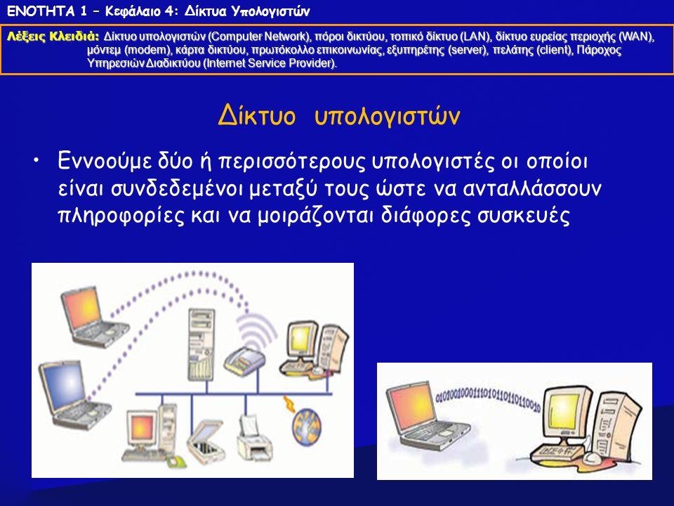 Τρόποι σύνδεσης ενός δικτύου Ενσύρματη = με τη βοήθεια καλωδίων Ασύρματη = χωρίς καλώδια ΕΝΟΤΗΤΑ 1 – Κεφάλαιο 4: Δίκτυα Υπολογιστών Λέξεις Κλειδιά: Δίκτυο υπολογιστών (Computer Network), πόροι δικτύου, τοπικό δίκτυο (LAN), δίκτυο ευρείας περιοχής (WAN), μόντεμ (modem), κάρτα δικτύου, πρωτόκολλο επικοινωνίας, εξυπηρέτης (server), πελάτης (client), Πάροχος Υπηρεσιών Διαδικτύου (Internet Service Provider).