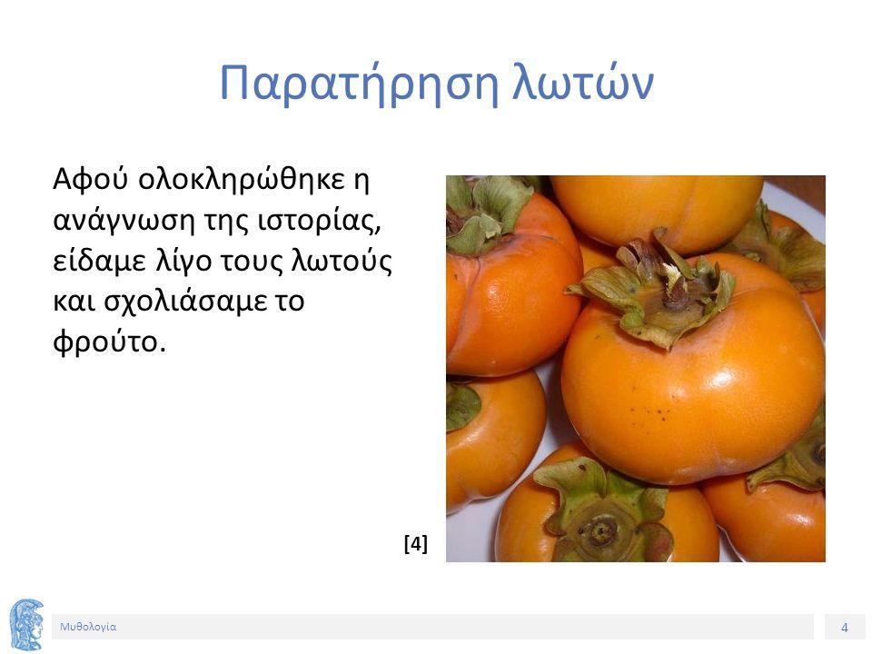 4 Μυθολογία Παρατήρηση λωτών Αφού ολοκληρώθηκε η ανάγνωση της ιστορίας, είδαμε λίγο τους λωτούς και σχολιάσαμε το φρούτο.
