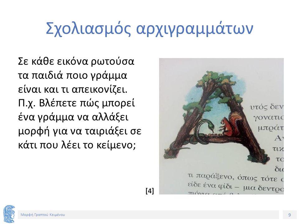 9 Μορφή Γραπτού Κειμένου Σχολιασμός αρχιγραμμάτων Σε κάθε εικόνα ρωτούσα τα παιδιά ποιο γράμμα είναι και τι απεικονίζει.