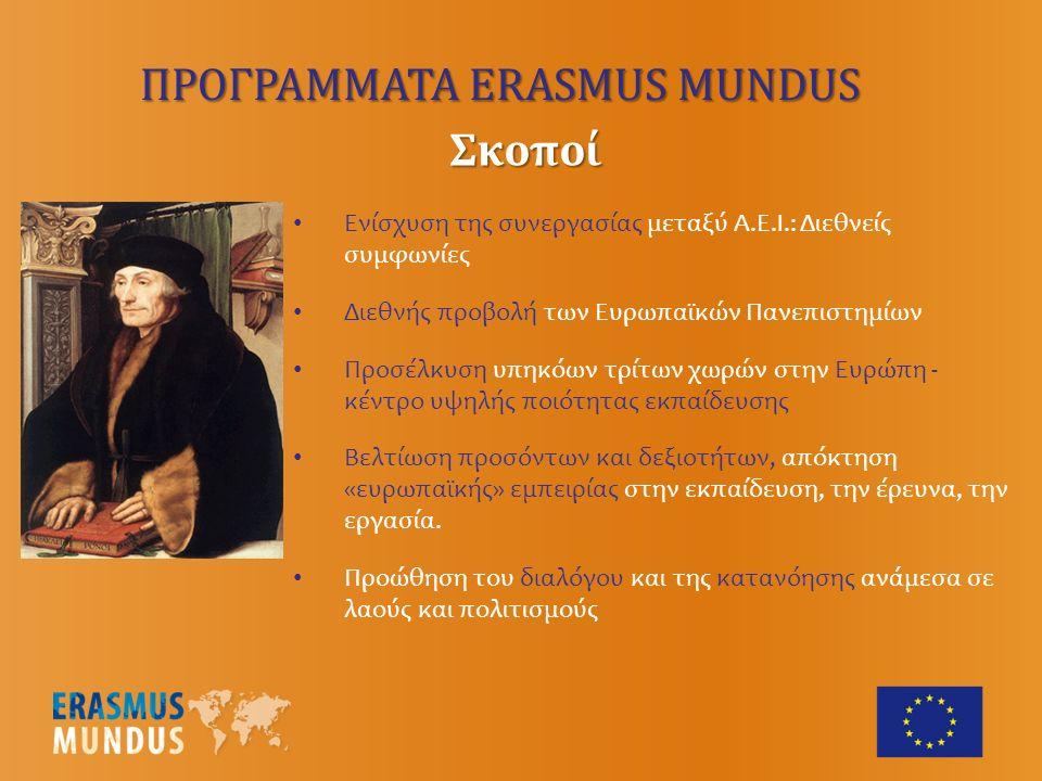 Ενίσχυση της συνεργασίας μεταξύ Α.Ε.Ι.: Διεθνείς συμφωνίες Διεθνής προβολή των Ευρωπαϊκών Πανεπιστημίων Προσέλκυση υπηκόων τρίτων χωρών στην Ευρώπη - κέντρο υψηλής ποιότητας εκπαίδευσης Βελτίωση προσόντων και δεξιοτήτων, απόκτηση «ευρωπαϊκής» εμπειρίας στην εκπαίδευση, την έρευνα, την εργασία.