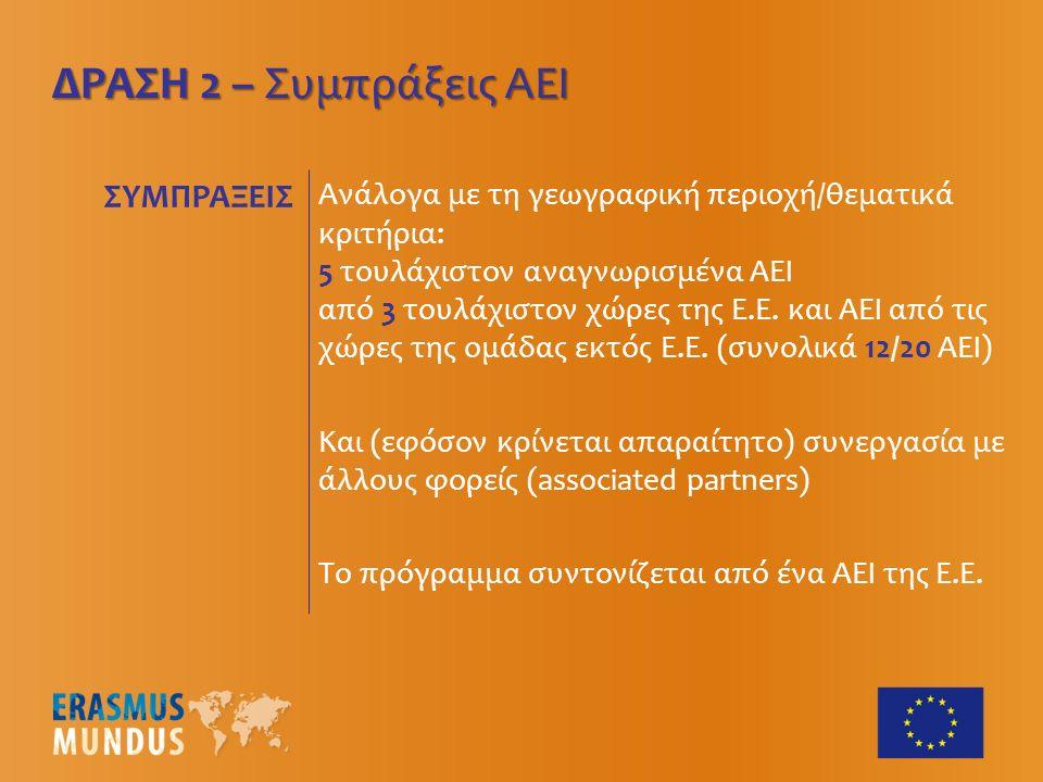 ΔΡΑΣΗ 2 – Συμπράξεις ΑΕΙ Ανάλογα με τη γεωγραφική περιοχή/θεματικά κριτήρια: 5 τουλάχιστον αναγνωρισμένα ΑΕΙ από 3 τουλάχιστον χώρες της Ε.Ε.