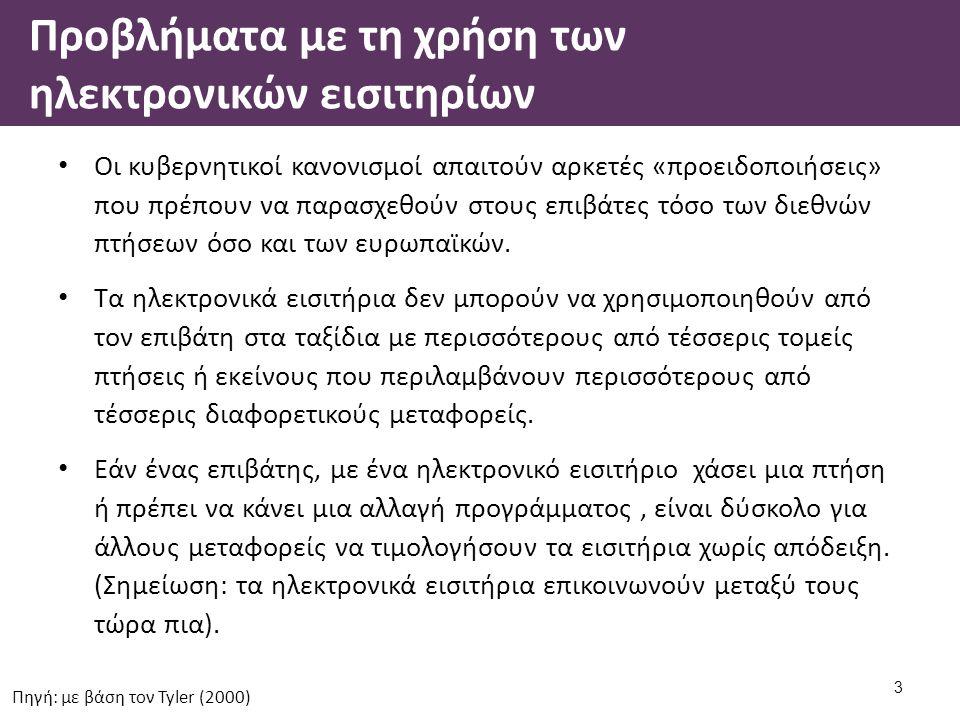 Προβλήματα με τη χρήση των ηλεκτρονικών εισιτηρίων Οι κυβερνητικοί κανονισμοί απαιτούν αρκετές «προειδοποιήσεις» που πρέπουν να παρασχεθούν στους επιβάτες τόσο των διεθνών πτήσεων όσο και των ευρωπαϊκών.