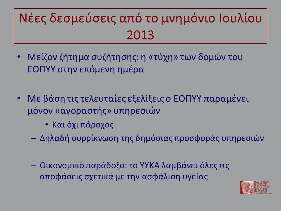 Νέες δεσμεύσεις από το μνημόνιο Ιουλίου 2013 Μείζον ζήτημα συζήτησης: η «τύχη» των δομών του ΕΟΠΥΥ στην επόμενη ημέρα Με βάση τις τελευταίες εξελίξεις