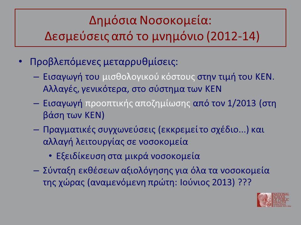 Δημόσια Νοσοκομεία: Δεσμεύσεις από το μνημόνιο (2012-14) Προβλεπόμενες μεταρρυθμίσεις: – Εισαγωγή του μισθολογικού κόστους στην τιμή του ΚΕΝ. Αλλαγές,