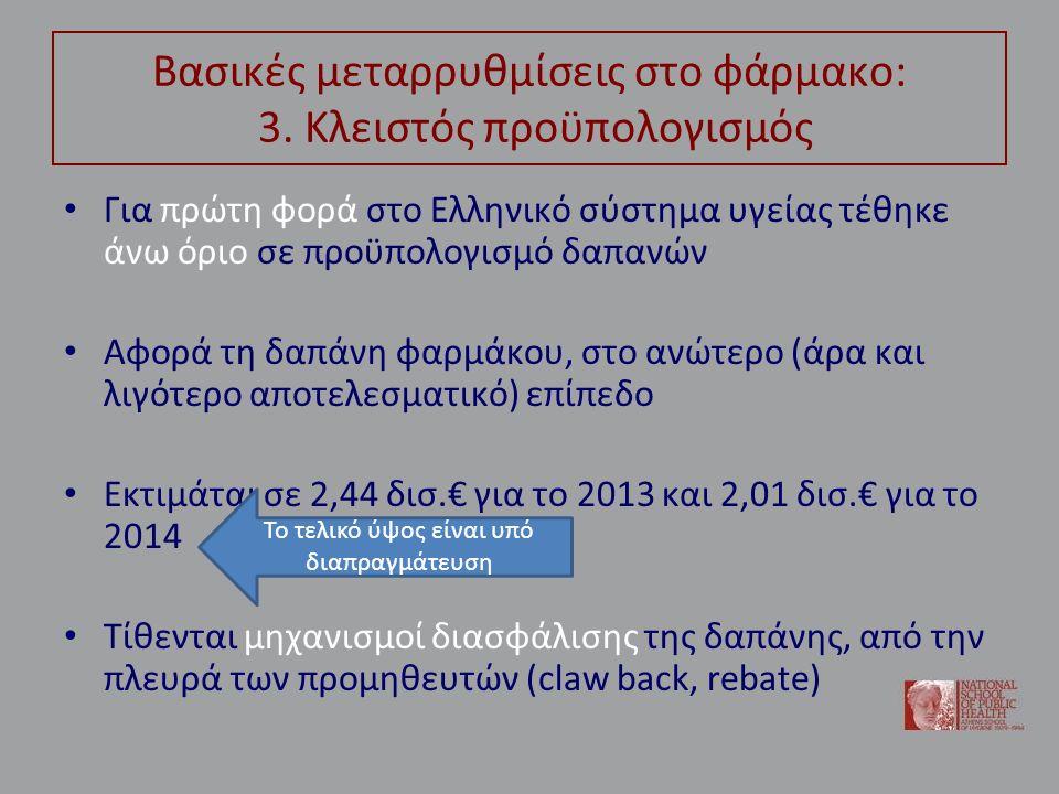Βασικές μεταρρυθμίσεις στο φάρμακο: 3. Κλειστός προϋπολογισμός Για πρώτη φορά στο Ελληνικό σύστημα υγείας τέθηκε άνω όριο σε προϋπολογισμό δαπανών Αφο