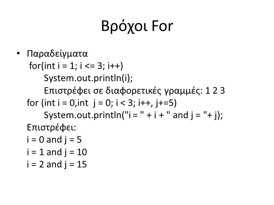 Βρόχοι For Παραδείγματα for(int i = 1; i <= 3; i++) System.out.println(i); Επιστρέφει σε διαφορετικές γραμμές: 1 2 3 for (int i = 0,int j = 0; i < 3; i++, j+=5) System.out.println( i = + i + and j = + j); Επιστρέφει: i = 0 and j = 5 i = 1 and j = 10 i = 2 and j = 15