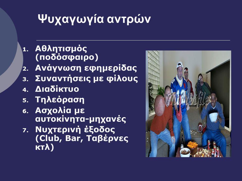 Ψυχαγωγία αντρών 1. Αθλητισμός (ποδόσφαιρο) 2. Ανάγνωση εφημερίδας 3.