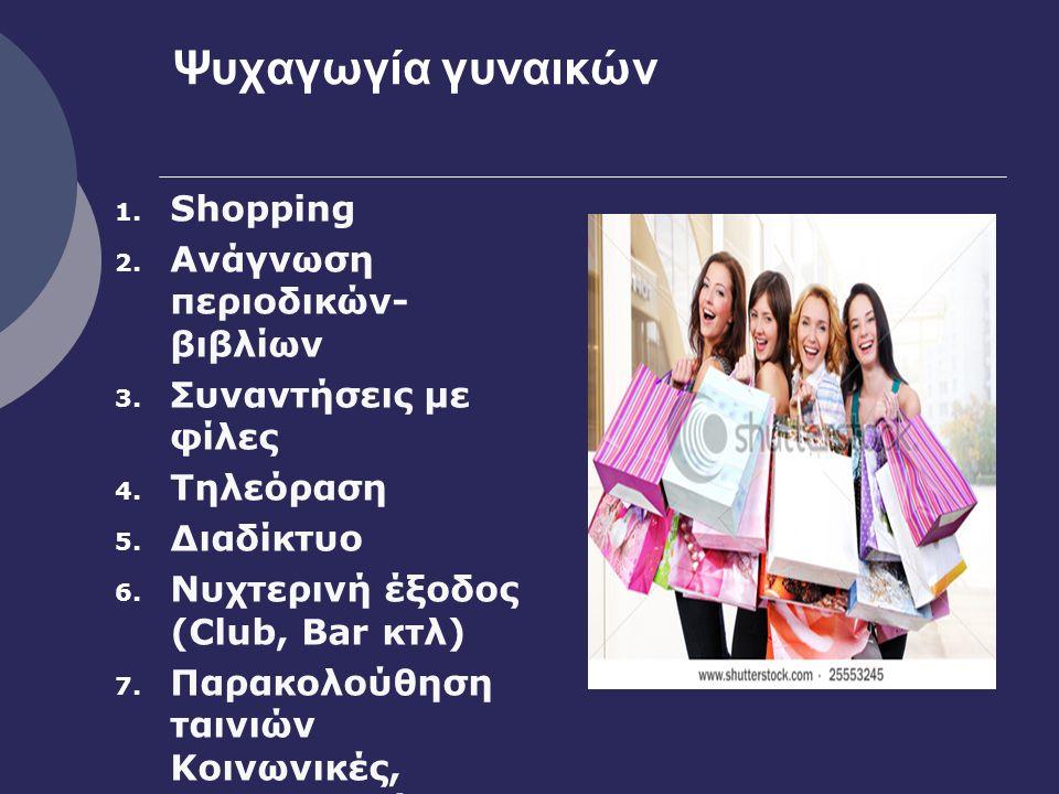Ψυχαγωγία γυναικών 1. Shopping 2. Ανάγνωση περιοδικών- βιβλίων 3.