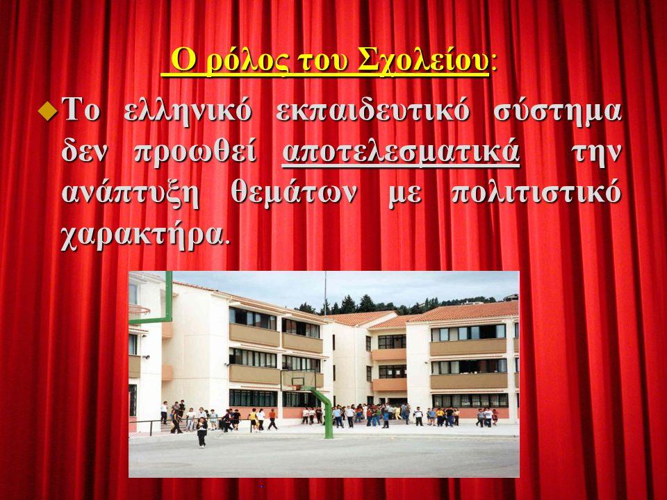 O ρόλος του Σχολείου: O ρόλος του Σχολείου:  Το ελληνικό εκπαιδευτικό σύστημα δεν προωθεί αποτελεσματικά την ανάπτυξη θεμάτων με πολιτιστικό χαρακτήρα.