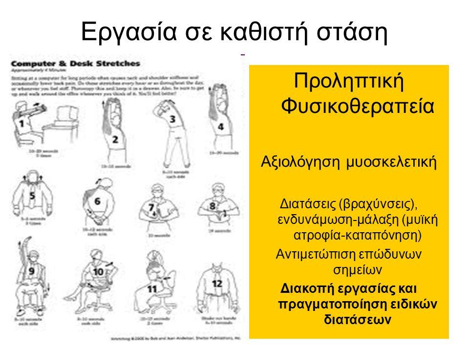 Εργασία σε καθιστή στάση Προληπτική Φυσικοθεραπεία Αξιολόγηση μυοσκελετική Διατάσεις (βραχύνσεις), ενδυνάμωση-μάλαξη (μυϊκή ατροφία-καταπόνηση) Αντιμετώπιση επώδυνων σημείων Διακοπή εργασίας και πραγματοποίηση ειδικών διατάσεων
