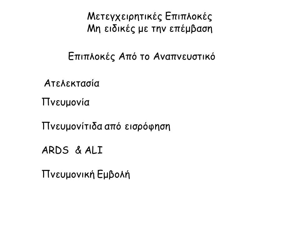 Μετεγχειρητικές Επιπλοκές Μη ειδικές με την επέμβαση Επιπλοκές Από το Αναπνευστικό Ατελεκτασία Πνευμονία Πνευμονίτιδα από εισρόφηση ΑRDS & ALI Πνευμονική Εμβολή