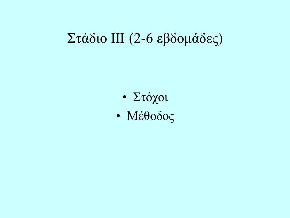 Στάδιο ΙΙΙ (2-6 εβδομάδες) Στόχοι Μέθοδος