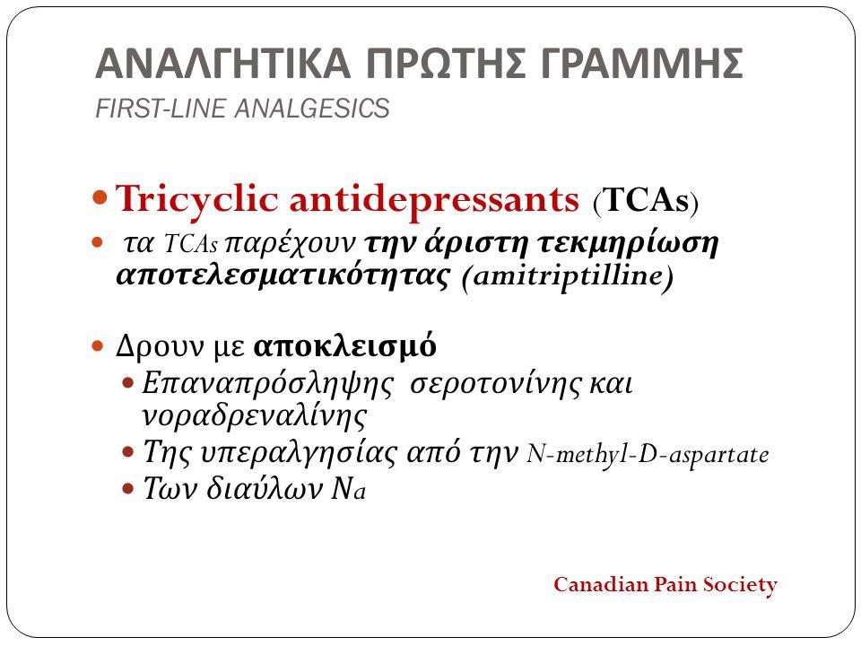ΑΝΑΛΓΗΤΙΚΑ ΠΡΩΤΗΣ ΓΡΑΜΜΗΣ FIRST-LINE ANALGESICS Tricyclic antidepressants ( TCAs ) τα TCAs παρέχουν την άριστη τεκμηρίωση αποτελεσματικότητας ( amitriptilline ) Δρουν με αποκλεισμό Επαναπρόσληψης σεροτονίνης και νοραδρεναλίνης Της υπεραλγησίας από την N-methyl-D-aspartate Των διαύλων Ν a Canadian Pain Society