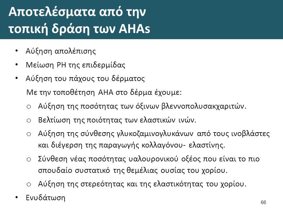 Αποτελέσματα από την τοπική δράση των AHAs Αύξηση απολέπισης Μείωση ΡΗ της επιδερμίδας Αύξηση του πάχους του δέρματος Με την τοποθέτηση ΑΗΑ στο δέρμα έχουμε: o Αύξηση της ποσότητας των όξινων βλεννοπολυσακχαριτών.