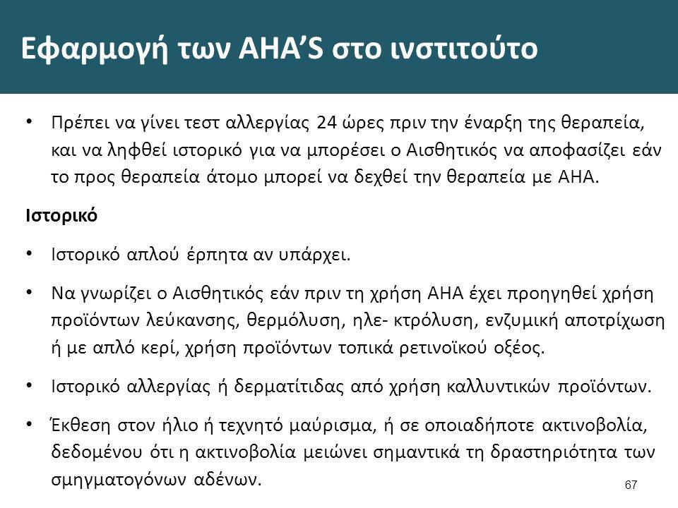 Εφαρμογή των AHA'S στο ινστιτούτο Πρέπει να γίνει τεστ αλλεργίας 24 ώρες πριν την έναρξη της θεραπεία, και να ληφθεί ιστορικό για να μπορέσει ο Αισθητικός να αποφασίζει εάν το προς θεραπεία άτομο μπορεί να δεχθεί την θεραπεία με ΑΗΑ.