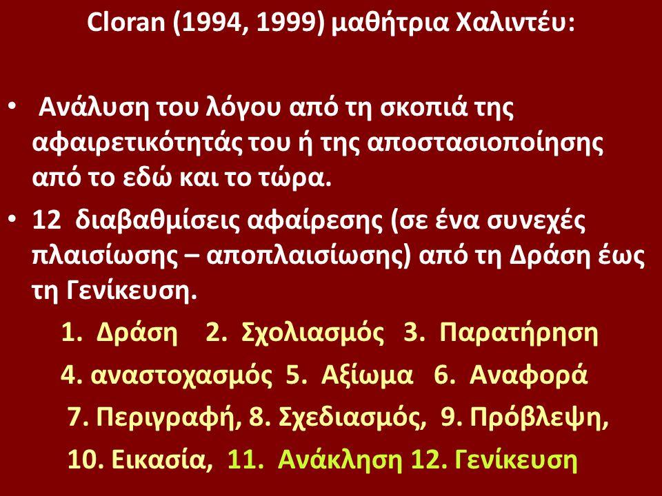 Cloran (1994, 1999) μαθήτρια Xαλιντέυ: Ανάλυση του λόγου από τη σκοπιά της αφαιρετικότητάς του ή της αποστασιοποίησης από το εδώ και το τώρα.