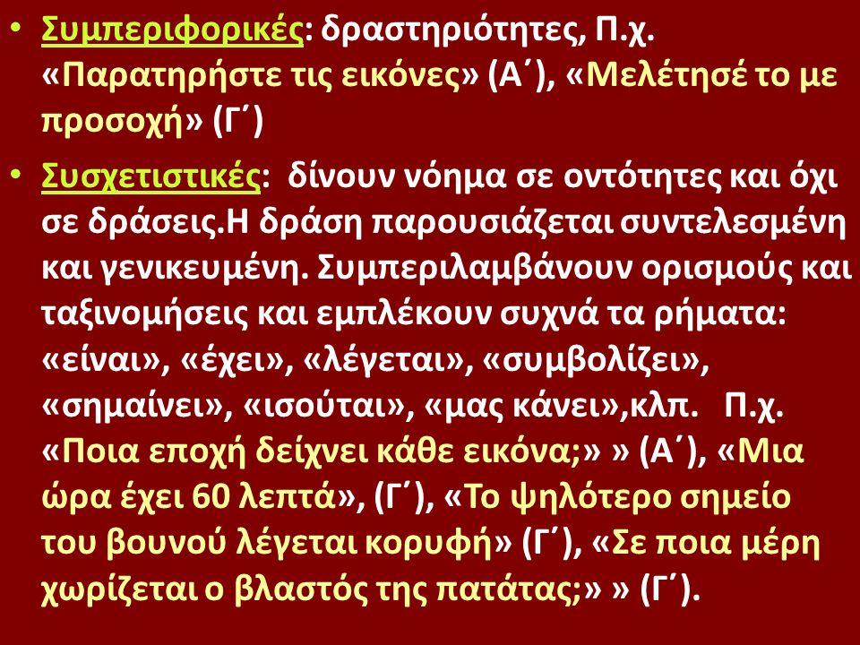 Συμπεριφορικές: δραστηριότητες, Π.χ.