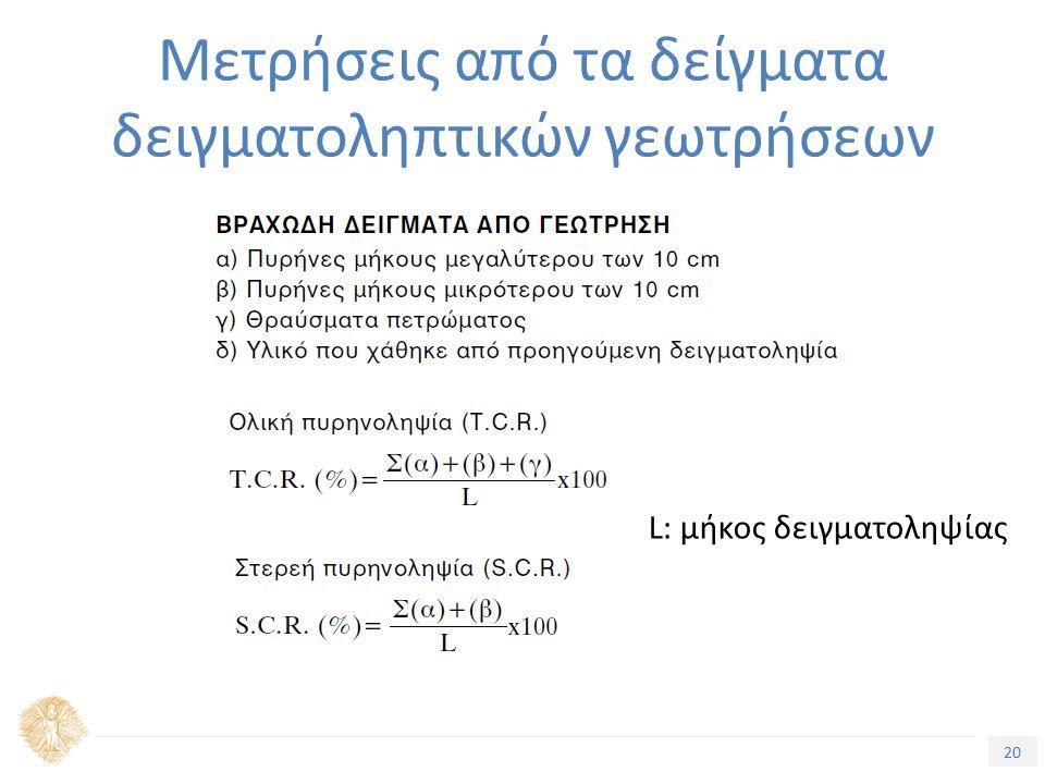 20 Μετρήσεις από τα δείγματα δειγματοληπτικών γεωτρήσεων L: μήκος δειγματοληψίας