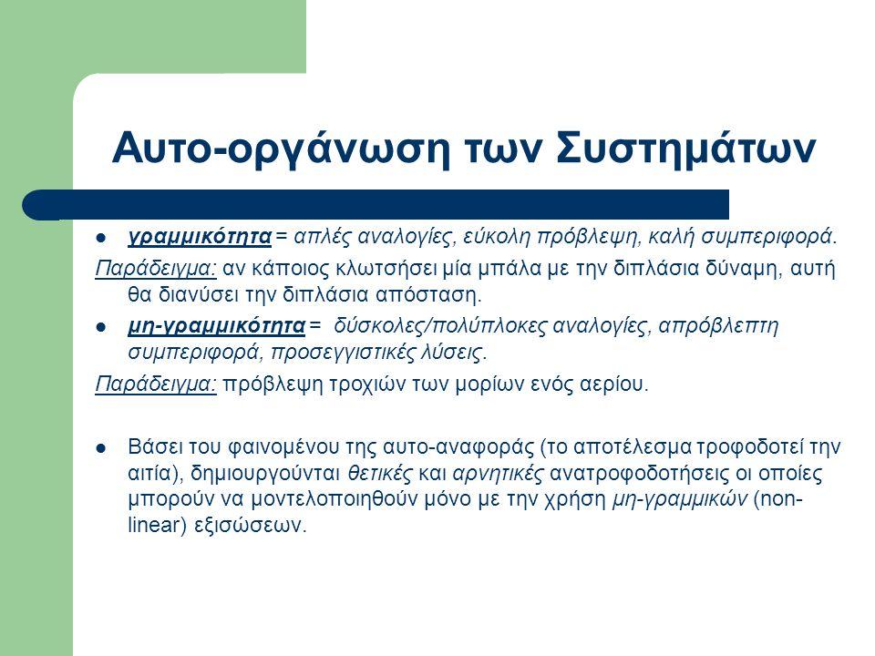 Αυτο-οργάνωση των Συστημάτων γραμμικότητα = απλές αναλογίες, εύκολη πρόβλεψη, καλή συμπεριφορά.