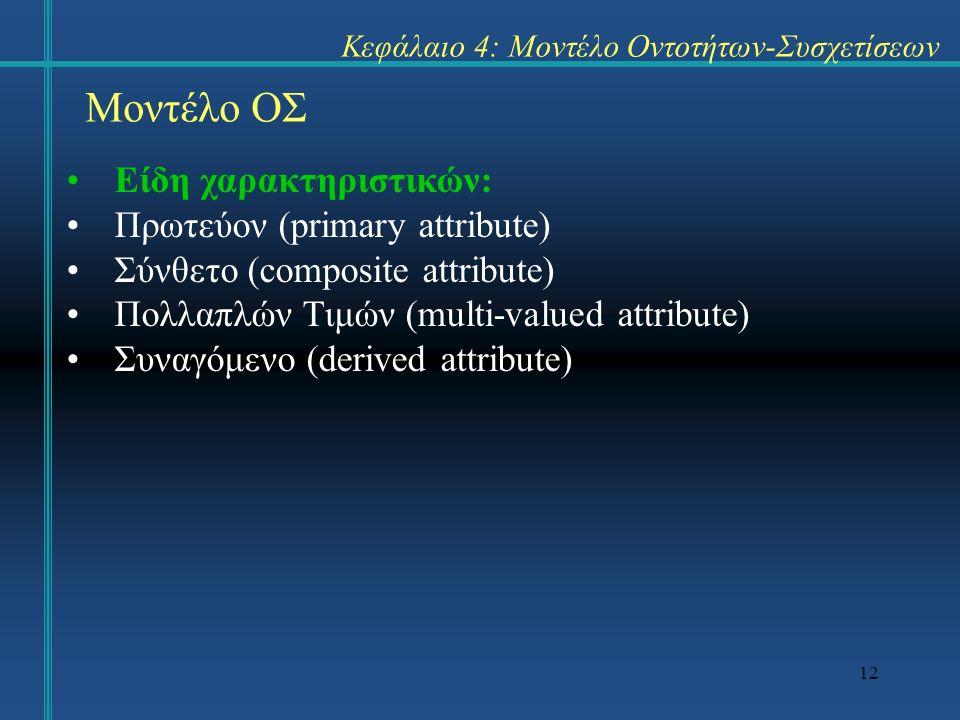 12 Μοντέλο ΟΣ Είδη χαρακτηριστικών: Πρωτεύον (primary attribute) Σύνθετο (composite attribute) Πολλαπλών Τιμών (multi-valued attribute) Συναγόμενο (derived attribute) Κεφάλαιο 4: Μοντέλο Οντοτήτων-Συσχετίσεων