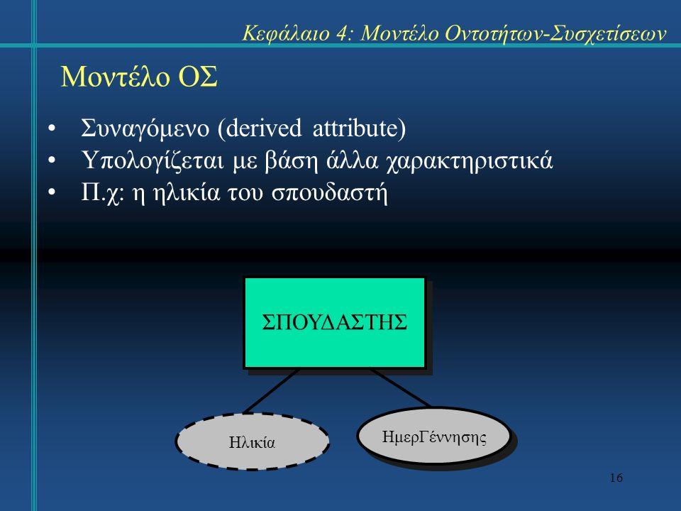 16 Μοντέλο ΟΣ Συναγόμενο (derived attribute) Υπολογίζεται με βάση άλλα χαρακτηριστικά Π.χ: η ηλικία του σπουδαστή Κεφάλαιο 4: Μοντέλο Οντοτήτων-Συσχετίσεων ΣΠΟΥΔΑΣΤΗΣ ΗμερΓέννησης Ηλικία