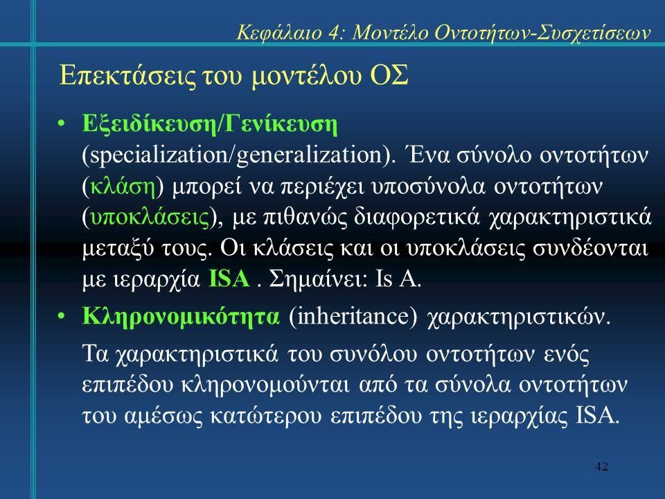42 Επεκτάσεις του μοντέλου ΟΣ Εξειδίκευση/Γενίκευση (specialization/generalization). Ένα σύνολο οντοτήτων (κλάση) μπορεί να περιέχει υποσύνολα οντοτήτ