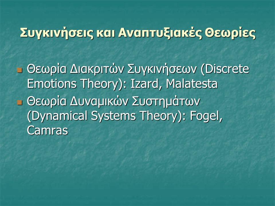 Συγκινήσεις και Αναπτυξιακές Θεωρίες Θεωρία Διακριτών Συγκινήσεων (Discrete Emotions Theory): Izard, Malatesta Θεωρία Διακριτών Συγκινήσεων (Discrete Emotions Theory): Izard, Malatesta Θεωρία Δυναμικών Συστημάτων (Dynamical Systems Theory): Fogel, Camras Θεωρία Δυναμικών Συστημάτων (Dynamical Systems Theory): Fogel, Camras