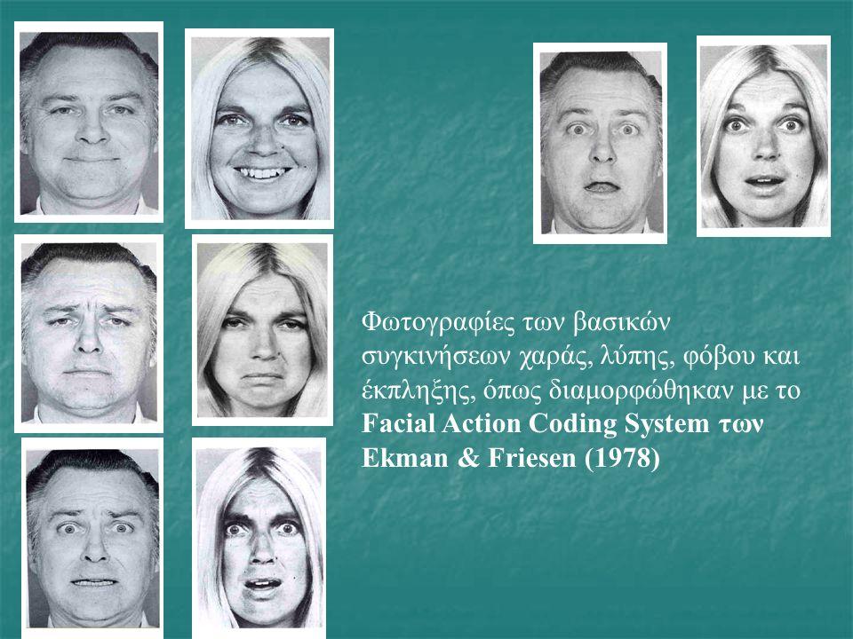 Φωτογραφίες των βασικών συγκινήσεων χαράς, λύπης, φόβου και έκπληξης, όπως διαμορφώθηκαν με το Facial Action Coding System των Ekman & Friesen (1978)