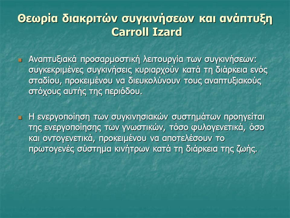 Θεωρία διακριτών συγκινήσεων και ανάπτυξη Carroll Izard Αναπτυξιακά προσαρμοστική λειτουργία των συγκινήσεων: συγκεκριμένες συγκινήσεις κυριαρχούν κατά τη διάρκεια ενός σταδίου, προκειμένου να διευκολύνουν τους αναπτυξιακούς στόχους αυτής της περιόδου.