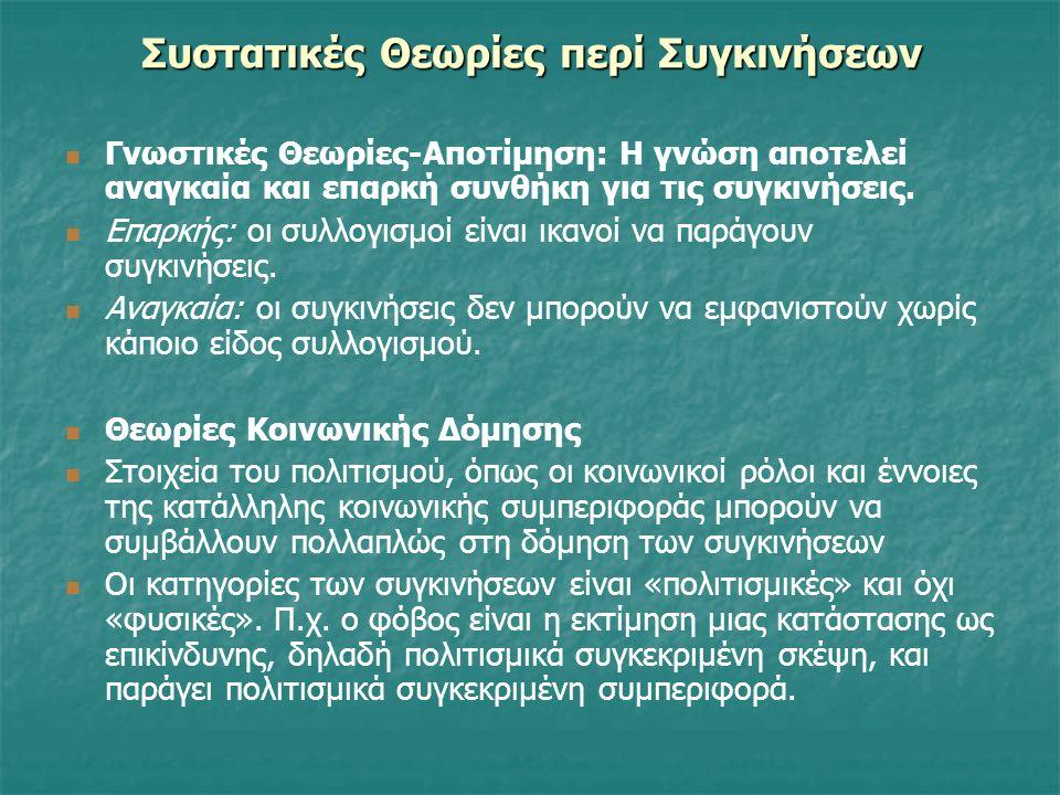 Συστατικές Θεωρίες περί Συγκινήσεων Γνωστικές Θεωρίες-Αποτίμηση: H γνώση αποτελεί αναγκαία και επαρκή συνθήκη για τις συγκινήσεις.