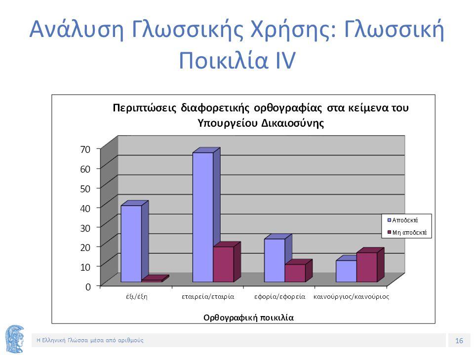 16 Η Ελληνική Γλώσσα μέσα από αριθμούς Ανάλυση Γλωσσικής Χρήσης: Γλωσσική Ποικιλία ΙV