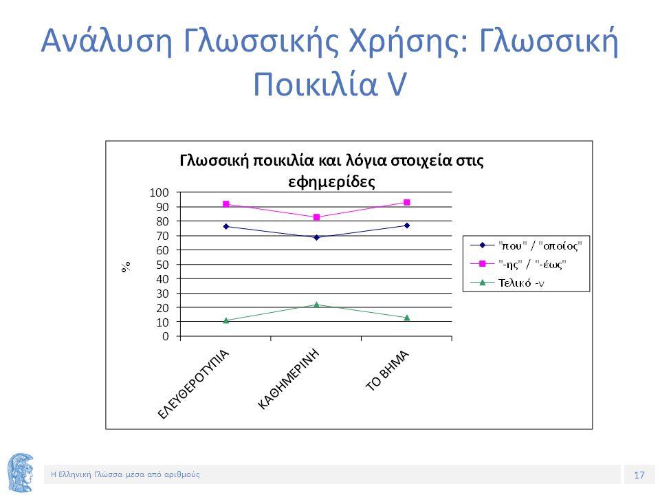 17 Η Ελληνική Γλώσσα μέσα από αριθμούς Ανάλυση Γλωσσικής Χρήσης: Γλωσσική Ποικιλία V