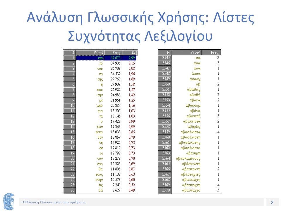 8 Η Ελληνική Γλώσσα μέσα από αριθμούς Ανάλυση Γλωσσικής Χρήσης: Λίστες Συχνότητας Λεξιλογίου