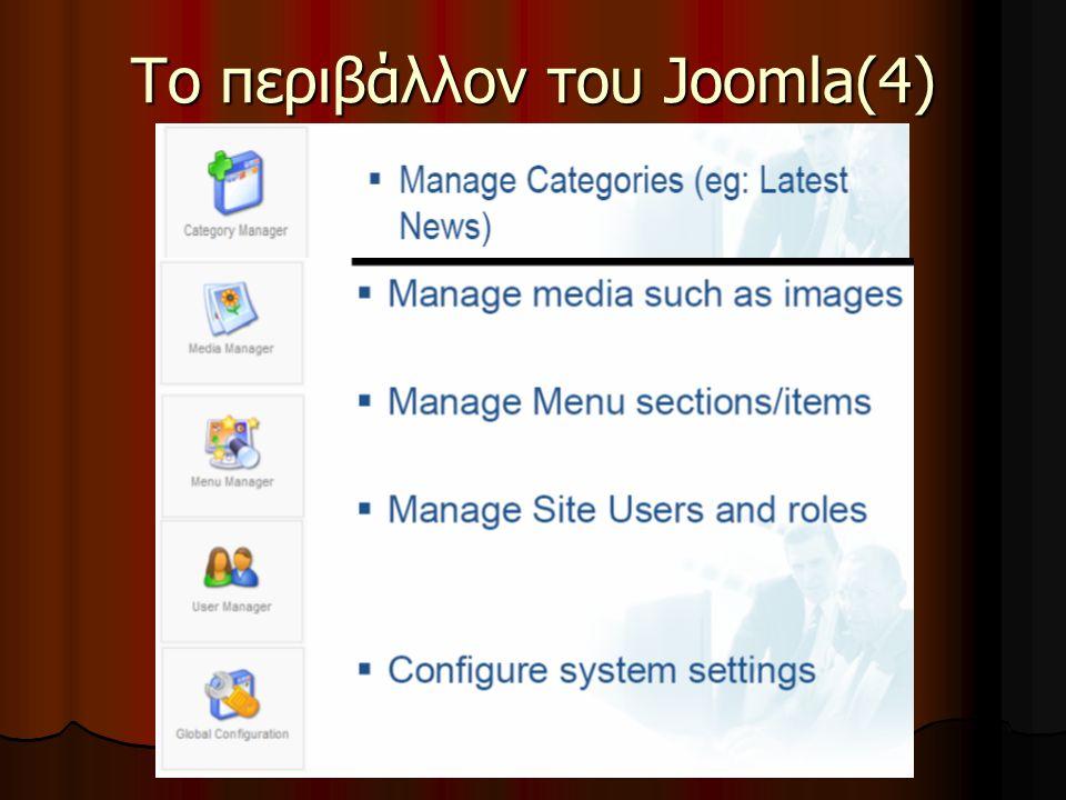 Το περιβάλλον του Joomla(4)