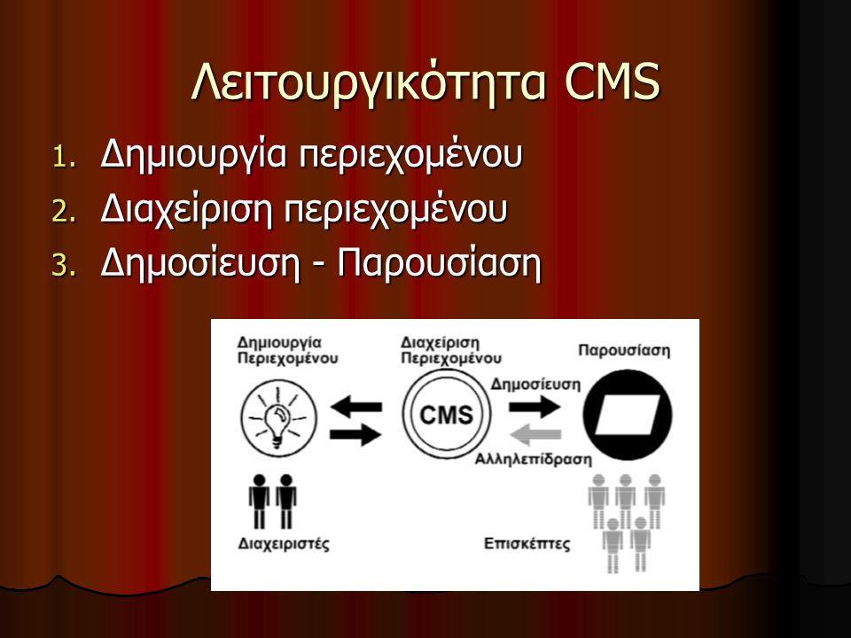 Λειτουργικότητα CMS 1. ∆ηµιουργία περιεχοµένου 2. ∆ιαχείριση περιεχοµένου 3. Δημοσίευση - Παρουσίαση