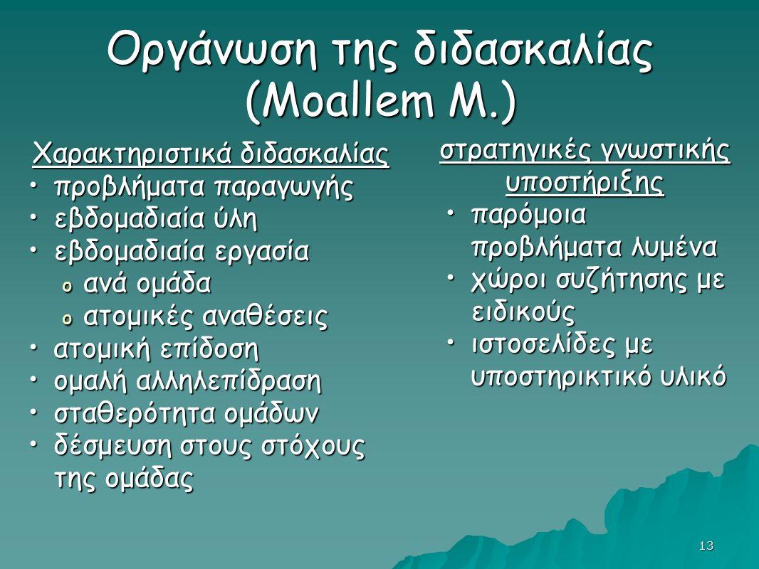 13 Οργάνωση της διδασκαλίας (Moallem M.) Χαρακτηριστικά διδασκαλίας προβλήματα παραγωγήςπροβλήματα παραγωγής εβδομαδιαία ύληεβδομαδιαία ύλη εβδομαδιαία εργασίαεβδομαδιαία εργασία o ανά ομάδα o ατομικές αναθέσεις ατομική επίδοσηατομική επίδοση ομαλή αλληλεπίδρασηομαλή αλληλεπίδραση σταθερότητα ομάδωνσταθερότητα ομάδων δέσμευση στους στόχους της ομάδαςδέσμευση στους στόχους της ομάδας στρατηγικές γνωστικής υποστήριξης παρόμοια προβλήματα λυμένα χώροι συζήτησης με ειδικούς ιστοσελίδες με υποστηρικτικό υλικό