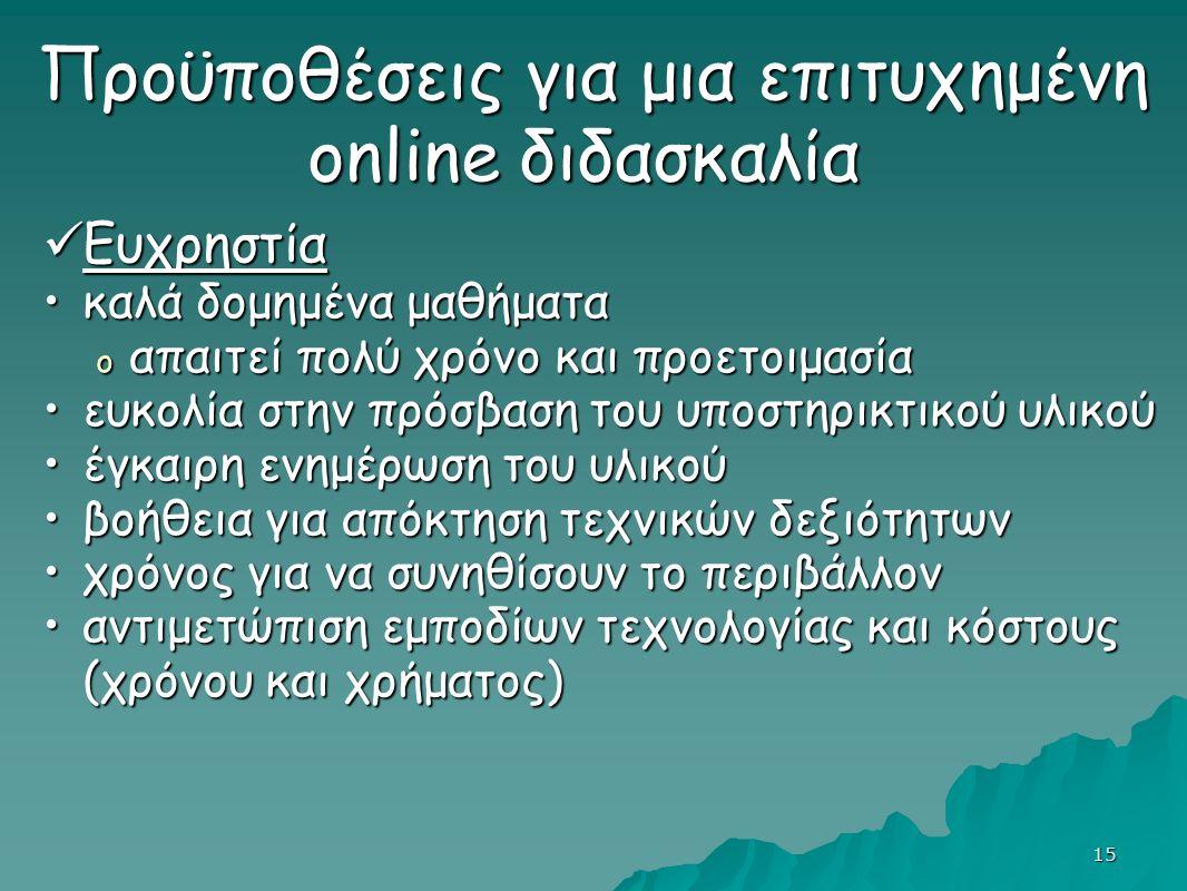 15 Προϋποθέσεις για μια επιτυχημένη online διδασκαλία Προϋποθέσεις για μια επιτυχημένη online διδασκαλία Ευχρηστία Ευχρηστία καλά δομημένα μαθήματακαλά δομημένα μαθήματα o απαιτεί πολύ χρόνο και προετοιμασία ευκολία στην πρόσβαση του υποστηρικτικού υλικούευκολία στην πρόσβαση του υποστηρικτικού υλικού έγκαιρη ενημέρωση του υλικούέγκαιρη ενημέρωση του υλικού βοήθεια για απόκτηση τεχνικών δεξιότητωνβοήθεια για απόκτηση τεχνικών δεξιότητων χρόνος για να συνηθίσουν το περιβάλλονχρόνος για να συνηθίσουν το περιβάλλον αντιμετώπιση εμποδίων τεχνολογίας και κόστους (χρόνου και χρήματος)αντιμετώπιση εμποδίων τεχνολογίας και κόστους (χρόνου και χρήματος)