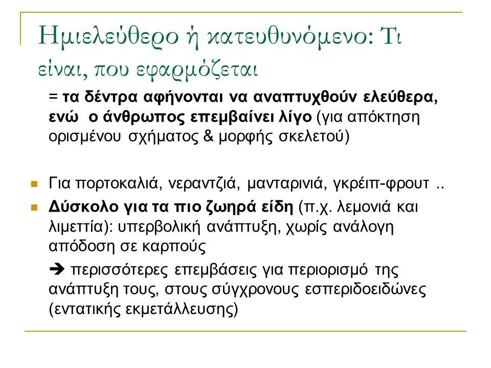 Ημιελεύθερο ή κατευθυνόμενο: Τι είναι, που εφαρμόζεται = τα δέντρα αφήνονται να αναπτυχθούν ελεύθερα, ενώ ο άνθρωπος επεμβαίνει λίγο (για απόκτηση ορισμένου σχήματος & μορφής σκελετού) Για πορτοκαλιά, νεραντζιά, μανταρινιά, γκρέιπ-φρουτ..